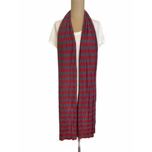 Red & Gray Striped Soft Scarf